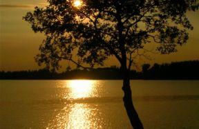 Jezioro - zachód słońca